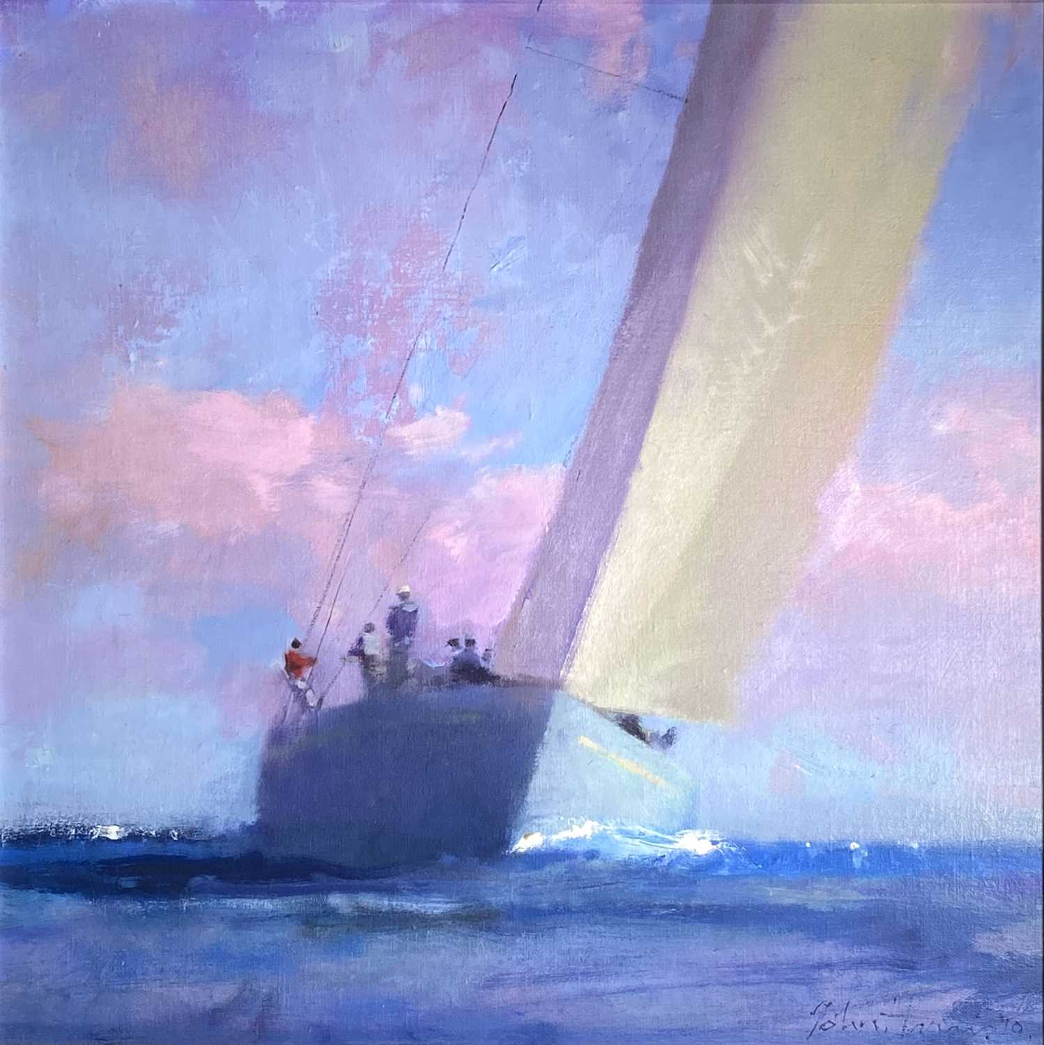 John HARRIS (1948)SailingOil on board Signed and dated '1044.5 x 44.5cmJohn Harris is the only