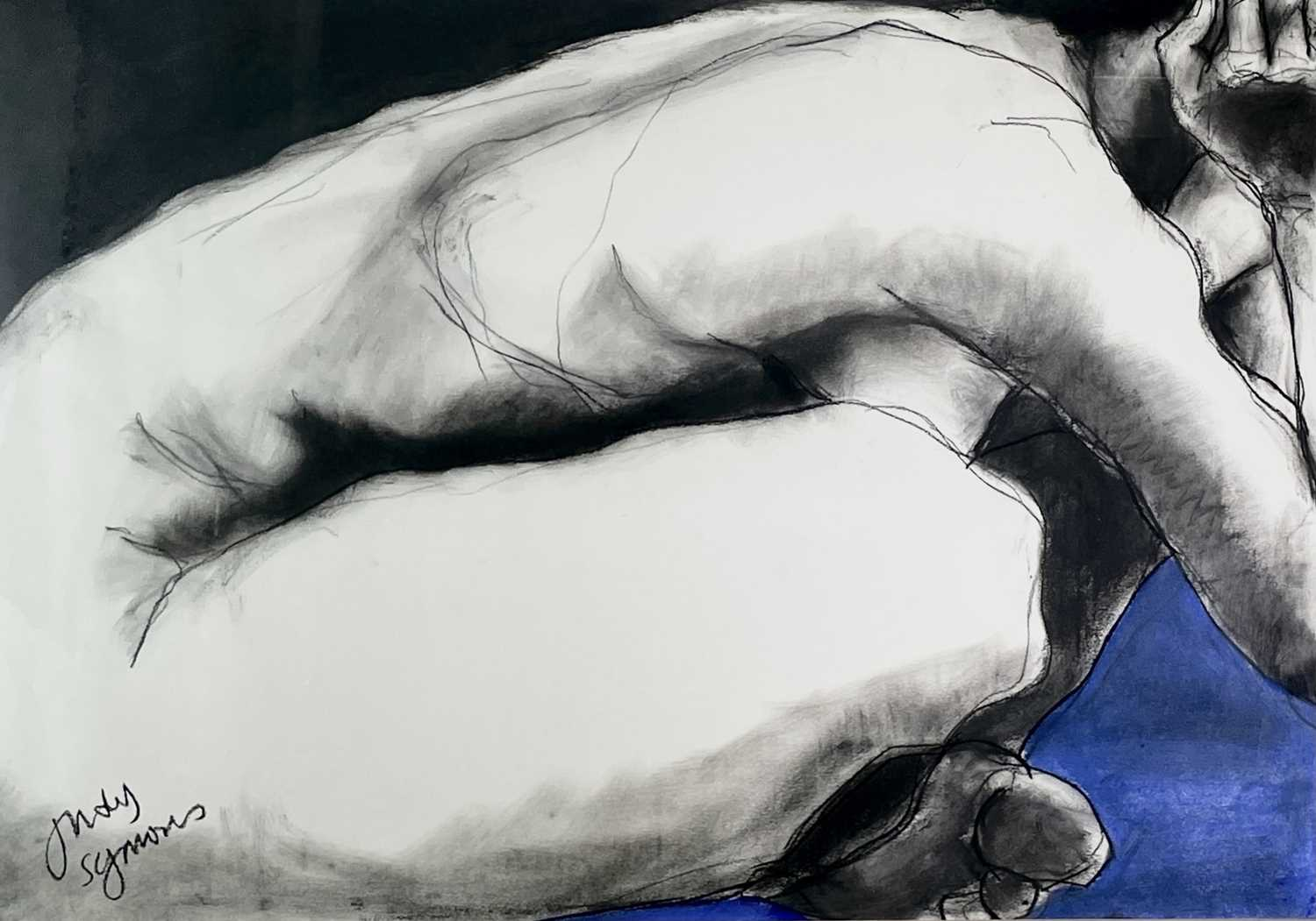 Judy SYMONS (XX-XXI)Doing Yoga on a Blue Mat Charcoal and pastel on paper Signed Further signed