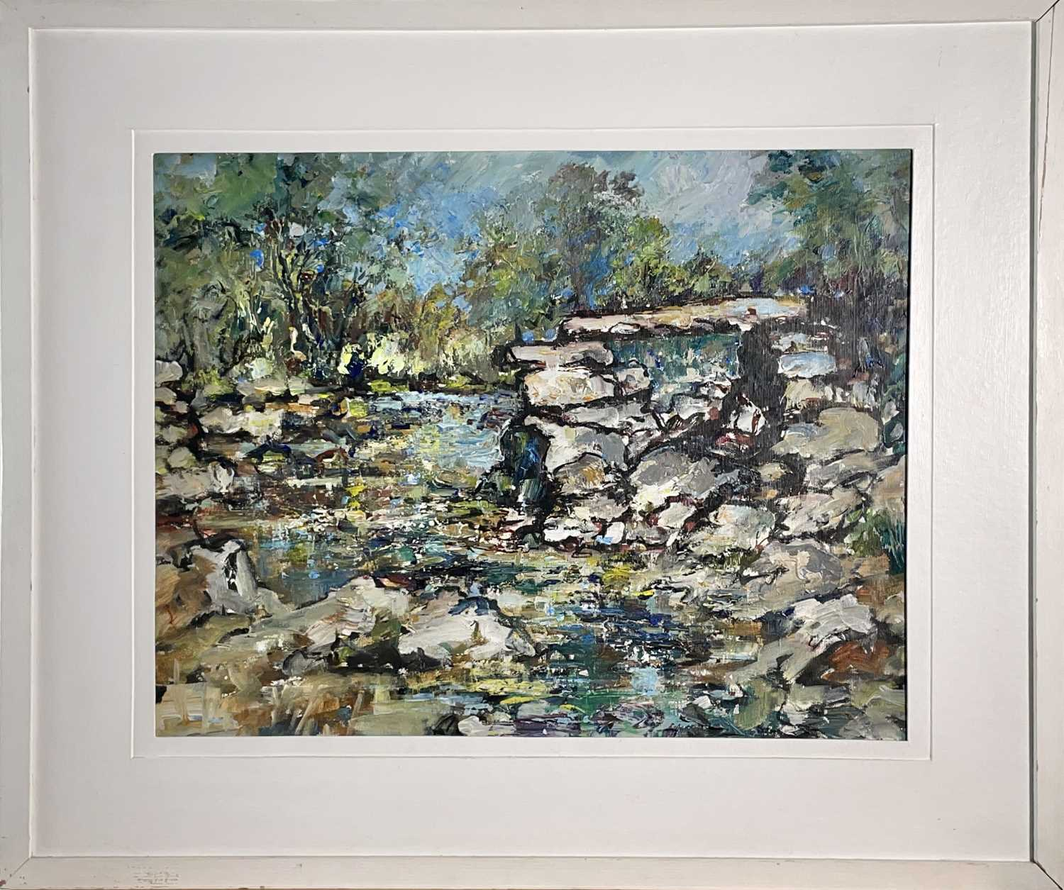 Yram ALLETS Dartmoor Stream Oil on board Signed and inscribed to verso 36 x 46cm - Image 3 of 3