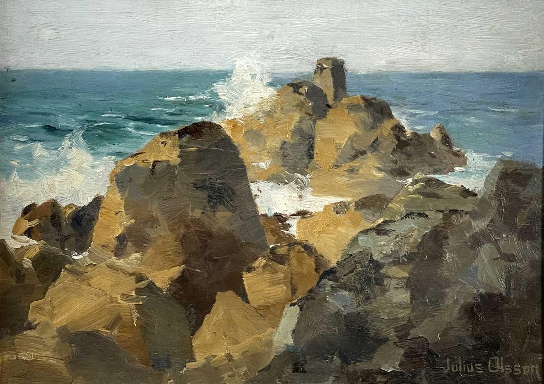 Julius OLSSON (1864-1942)Breakers on the Cornish Coast Oil on board Signed 25 x 35cmCondition