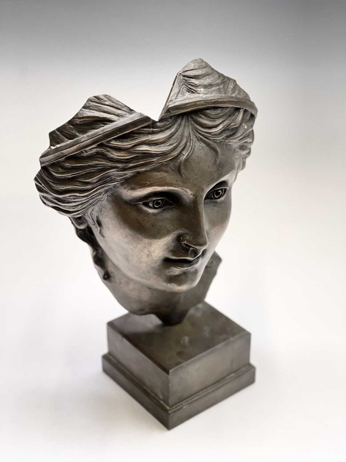 Alec WILES (1924)Aphrodite Bronzed resin mask and plinth Height 35cm - Image 6 of 8