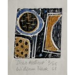 William BLACK (20th Century British)Discs AbstractWoodblock and watercolour Signed, inscribed and