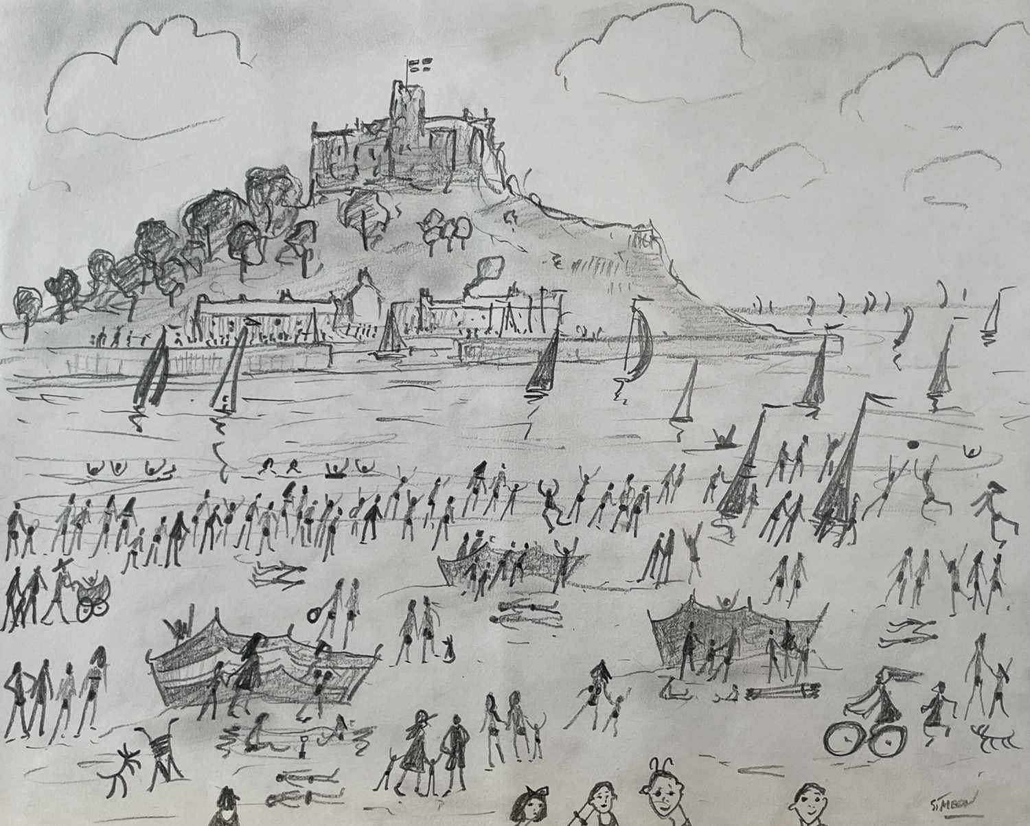 Simeon STAFFORD (1956)St Michael's Mount Pencil drawing on paper Signed Further signed and inscribed - Image 4 of 4