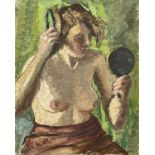 Garlick BARNES (1891-1987)A Portrait of a Nude Woman Holding a Handmirror Oil on canvas Signed51 x