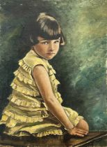 Garlick BARNES (1891-1987)Portrait of a Girl in a Yellow DressOil on canvas Signed Inscribed 'No.2