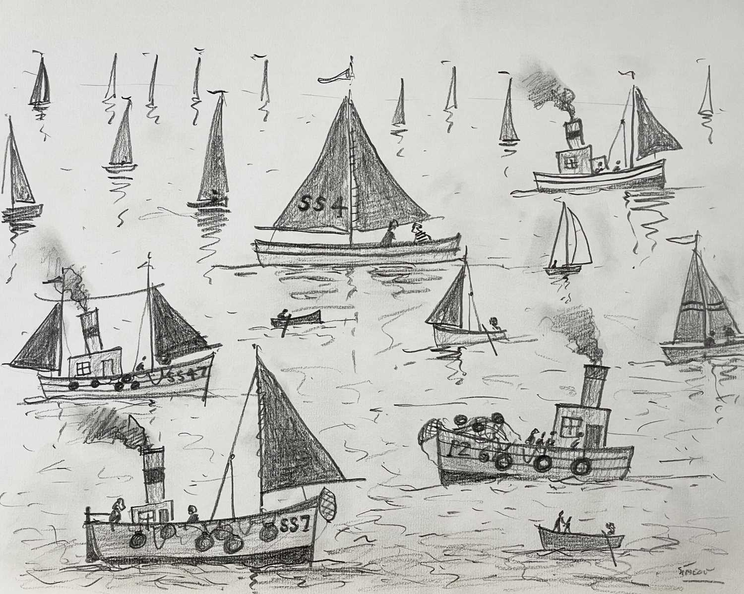 Simeon STAFFORD (1956)Sail and Steam Day Pencil drawing on paper Signed Further signed and inscribed