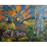 Robert MERCERMen-an-Tol, Morvah Mixed media on board Signed Inscribed to verso 60 x 76cm