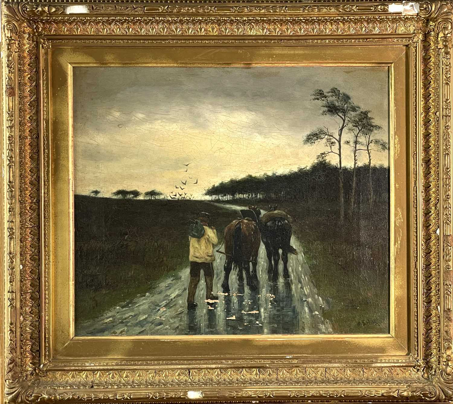 William Frederick HULK (1852-c.1906) A Rainy Day Oil on canvas Signed, traces of inscriptions to - Image 2 of 3