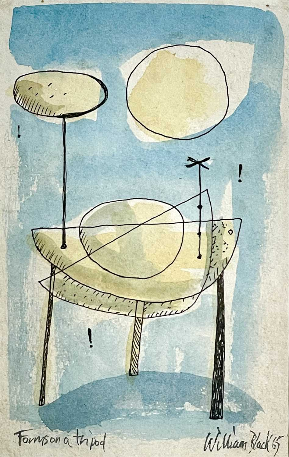 William BLACK (20th Century British)Forms on a Tripod Gouache and ink Signed, inscribed and dated '