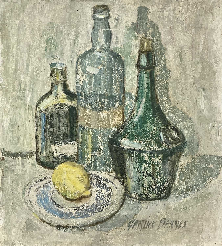 Garlick BARNES (1891-1987)Still Life - Bottles and a LemonOil on board Signed 41 x 36cm Garlick