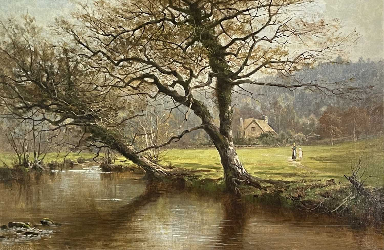 Arthur Bevan COLLIER (1832-1908)On the River InnyOil on canvas Signed, inscribed and dated 1894 to