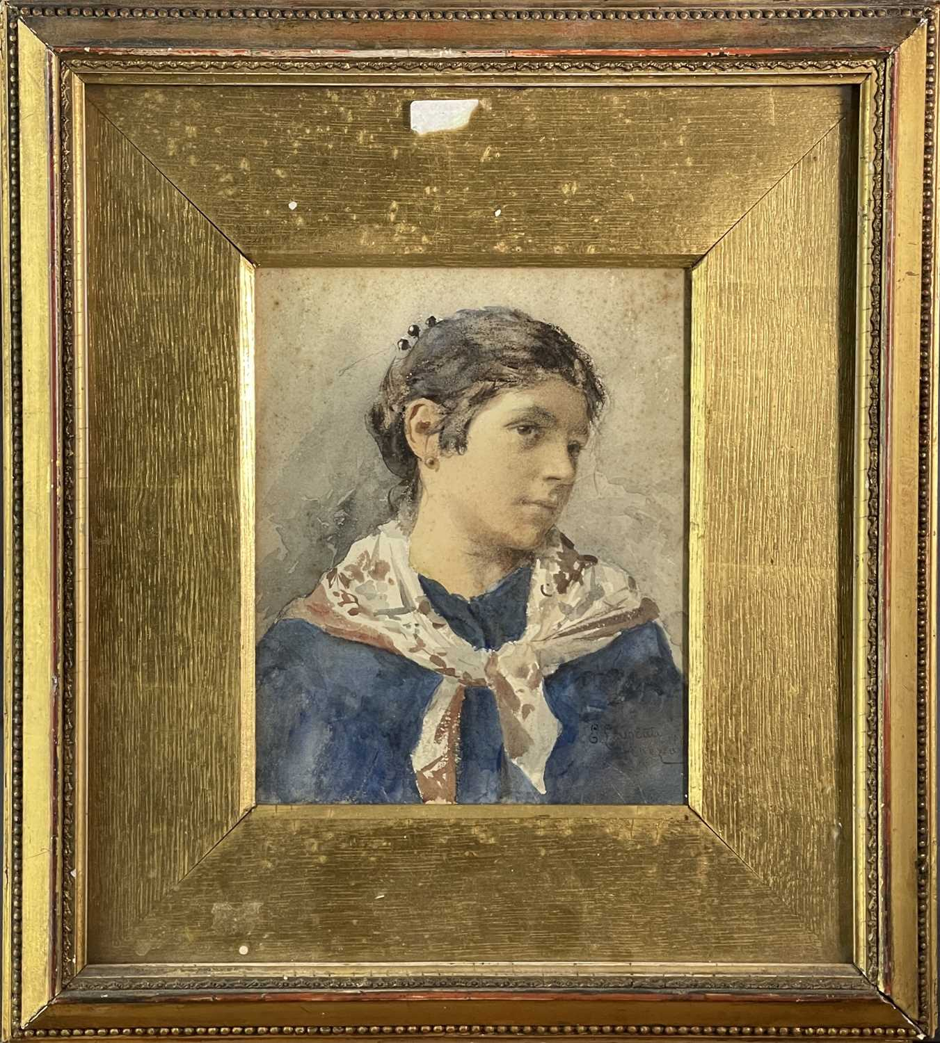 Ernesto LEVORATI (XIX-XX) Two portrait watercolours Each of a Venetian girl Signed and dated 1882 - Image 6 of 7