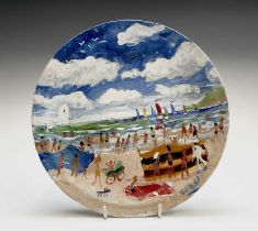 Simeon STAFFORD (1956)On the Beach - St Ives A painted plateSigned, dated and inscribed Diameter