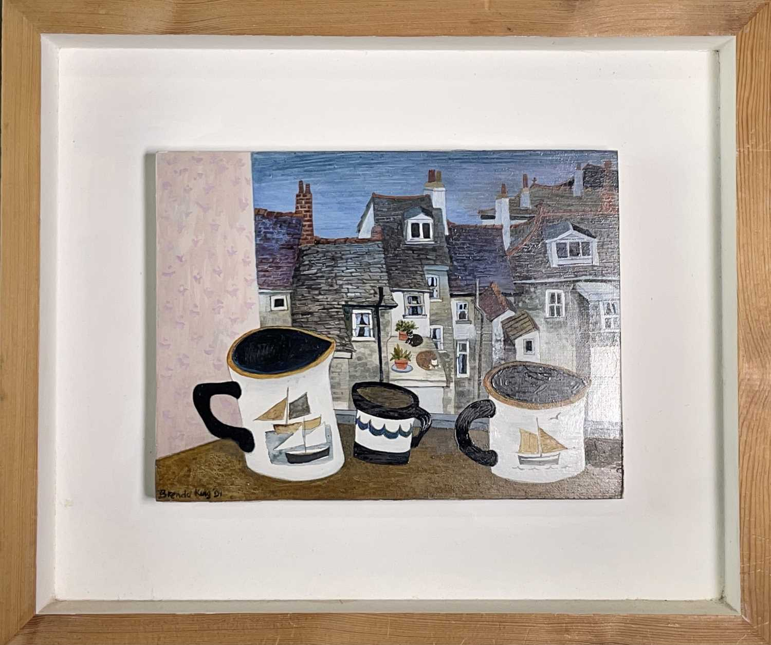 Brenda KING (1934-2011) Two Cats at Porthmeor Oil on board Signed and dated '91, further signed, - Image 3 of 3