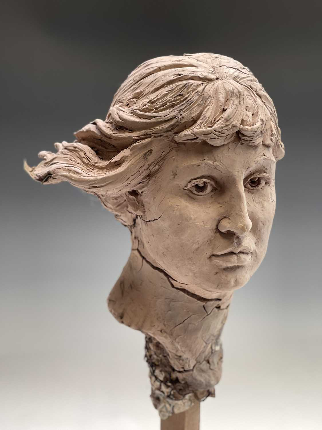 Alec WILES (1924)Female Head Clay sculpture Height 58cm - Image 9 of 17