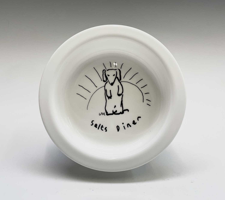 David HOCKNEY (1937) A Royal Doulton bone china bowl showing a design of a dog by David Hockney