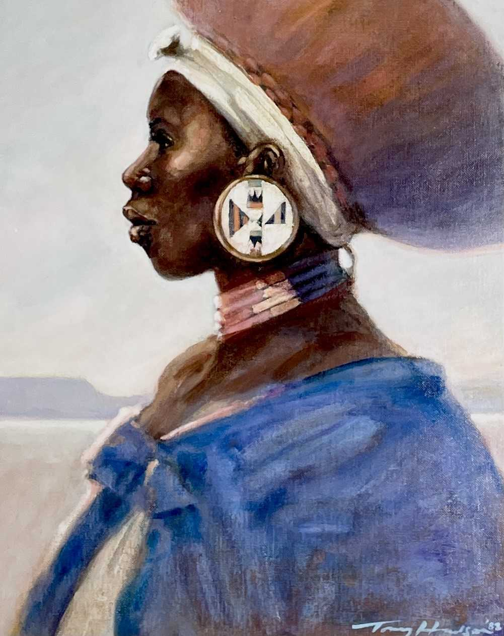 Anthony J. HUDSON (1937-1989)Zulu Woman Oil on board Signed and dated '8855 x 44cmCondition