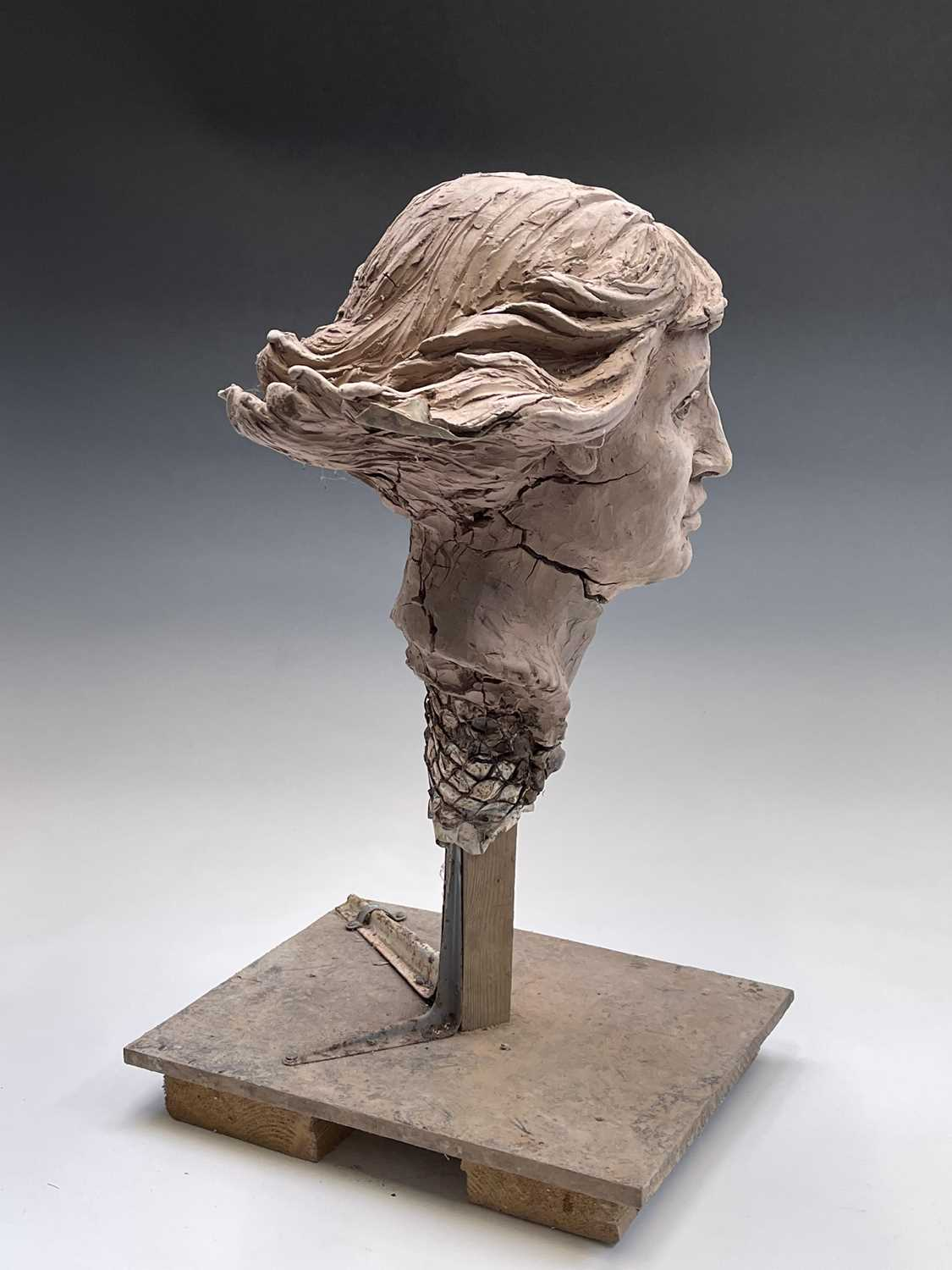 Alec WILES (1924)Female Head Clay sculpture Height 58cm - Image 10 of 17