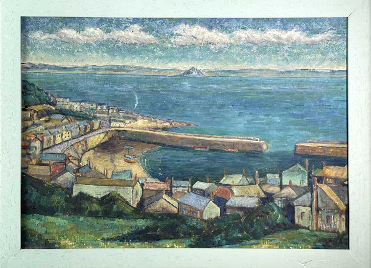 Newlyn School A View of Mounts Bay Overlooking Mousehole Harbour Oil on canvas 50 x 70cm - Image 3 of 3