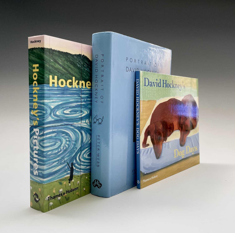 Three David Hockney publications: Portrait of David Hockney, Peter Webb, first edition 1988,
