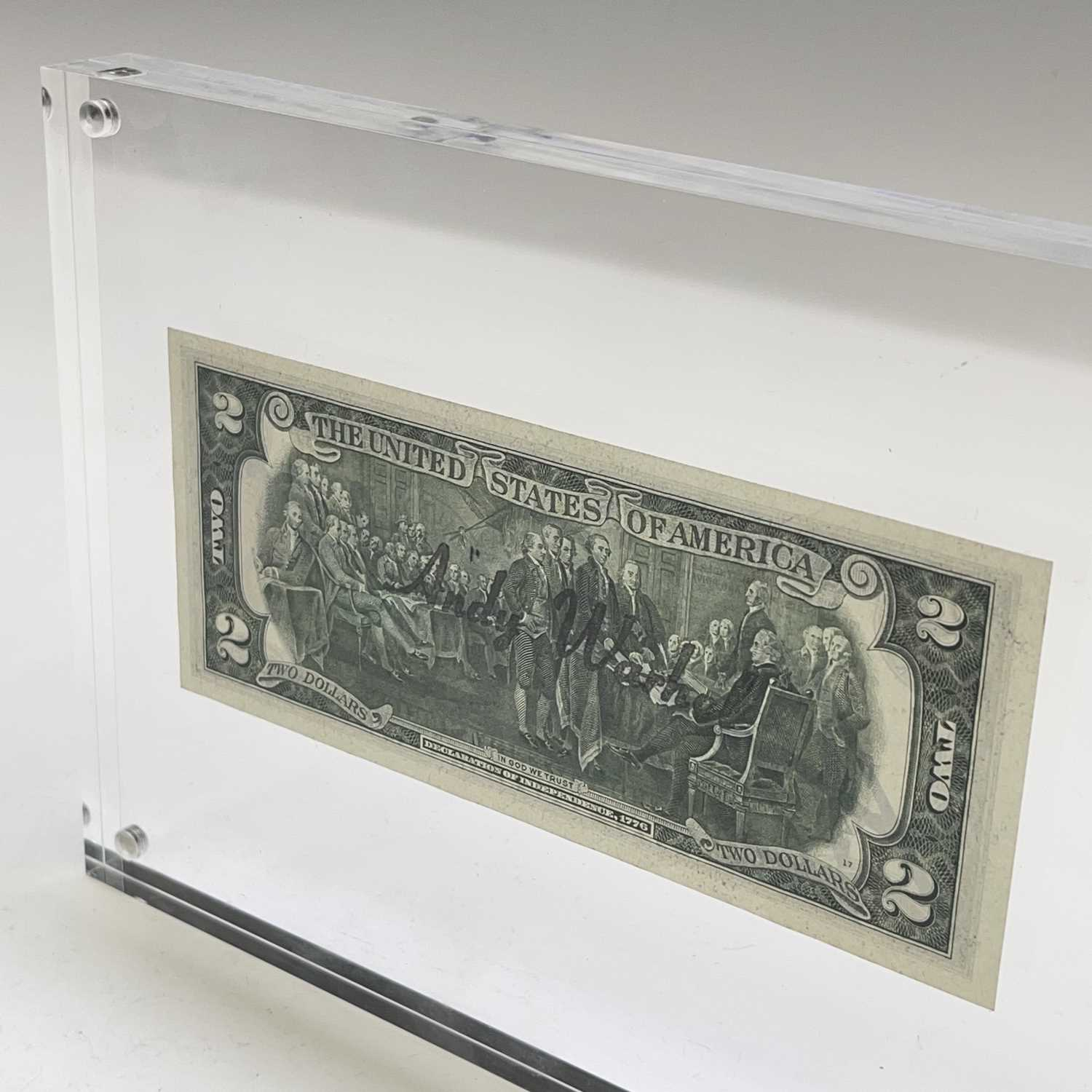 After Andy Warhol, a two-dollar banknote, bears signature, together with accompanying paperwork. - Image 9 of 14