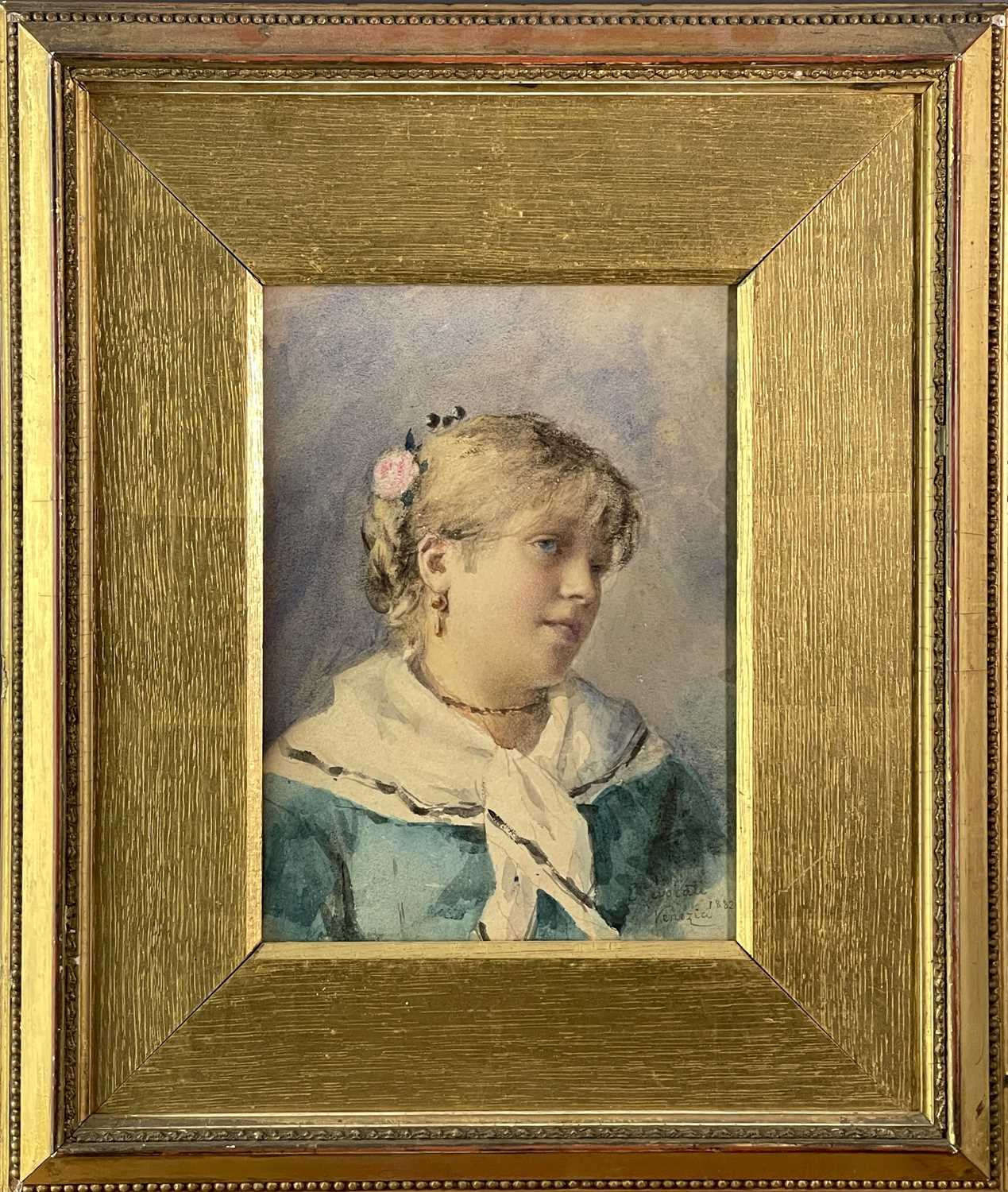 Ernesto LEVORATI (XIX-XX) Two portrait watercolours Each of a Venetian girl Signed and dated 1882 - Image 5 of 7