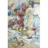 Maggie O'BRIENHydrangeas & High HeelsWatercolourSigned Further signed, inscribed and dated 2007 to