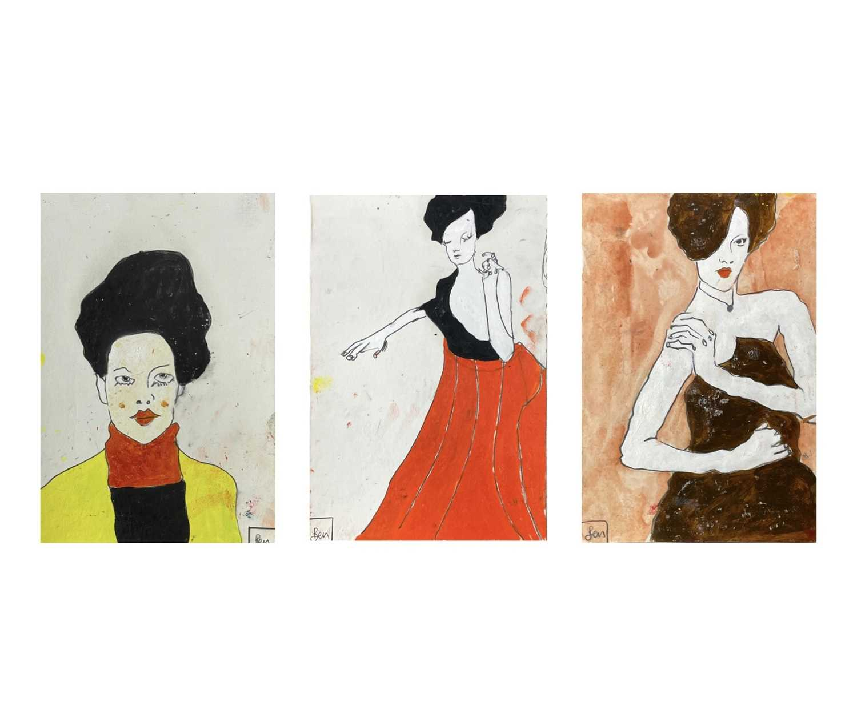 Benjamin CARRIVICK (1980)Three figure studies Mixed media on card Each signed Each 29 x 20cm