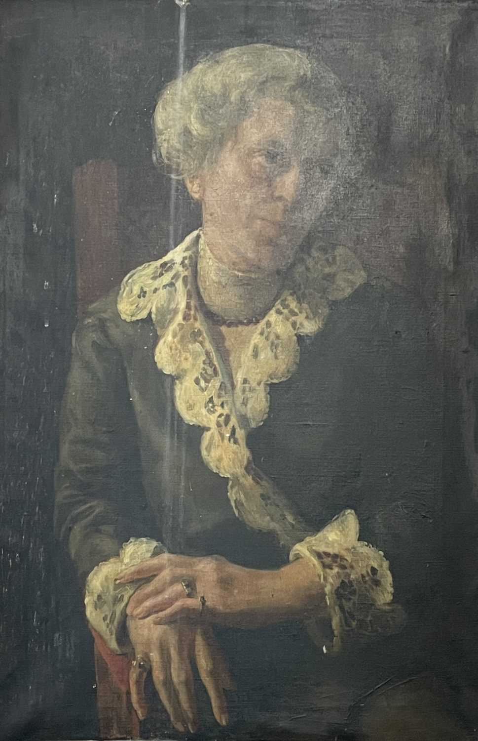 Pre-War English school Portrait of a seated lady Oil on canvas 76x50cm - Image 4 of 7