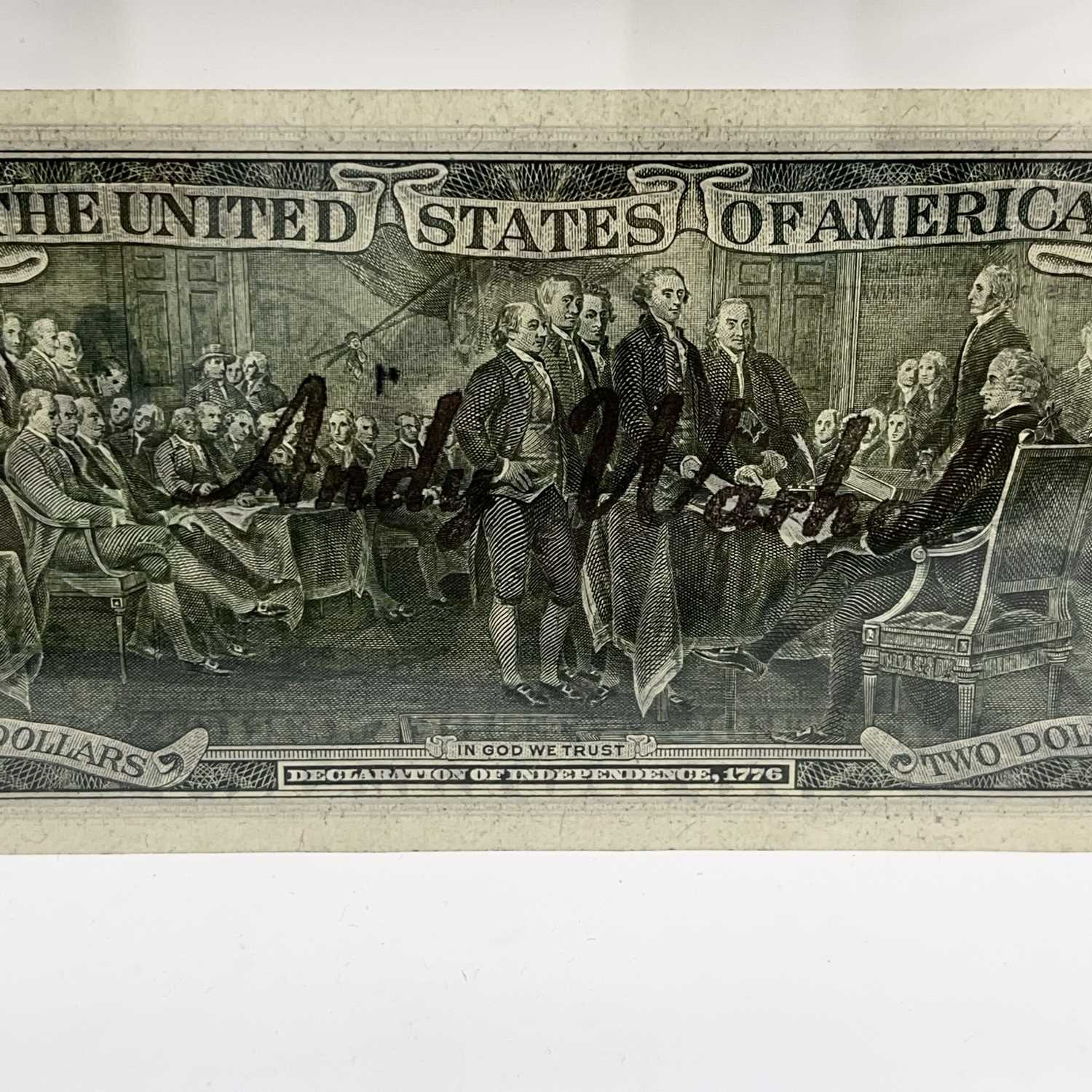 After Andy Warhol, a two-dollar banknote, bears signature, together with accompanying paperwork. - Image 8 of 14