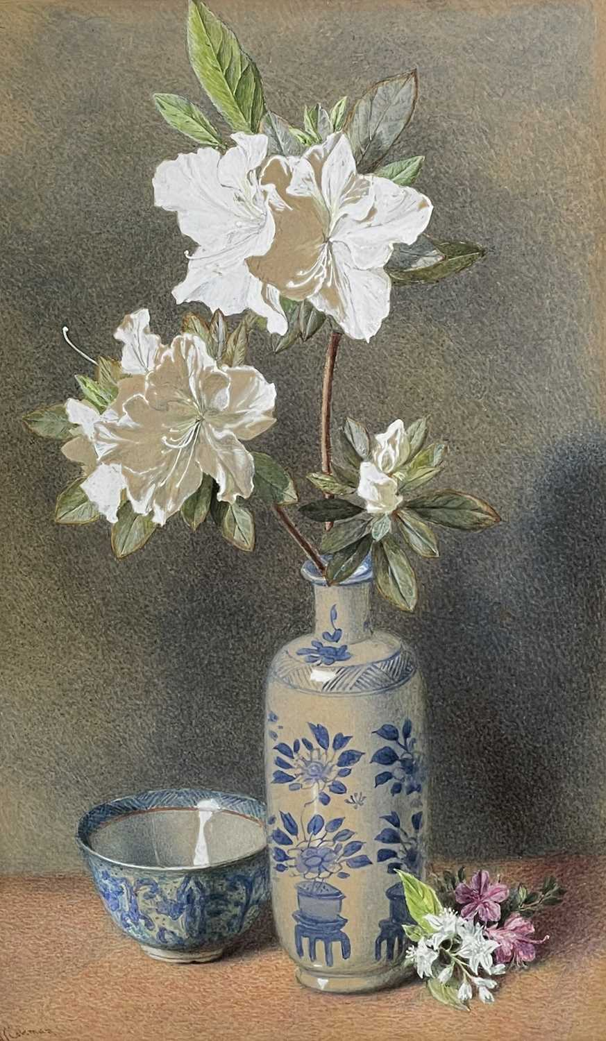 Helen Cordelia ANGELL COLEMAN (1847-1884) Azelias in a Blue and White Vase Watercolour Signed