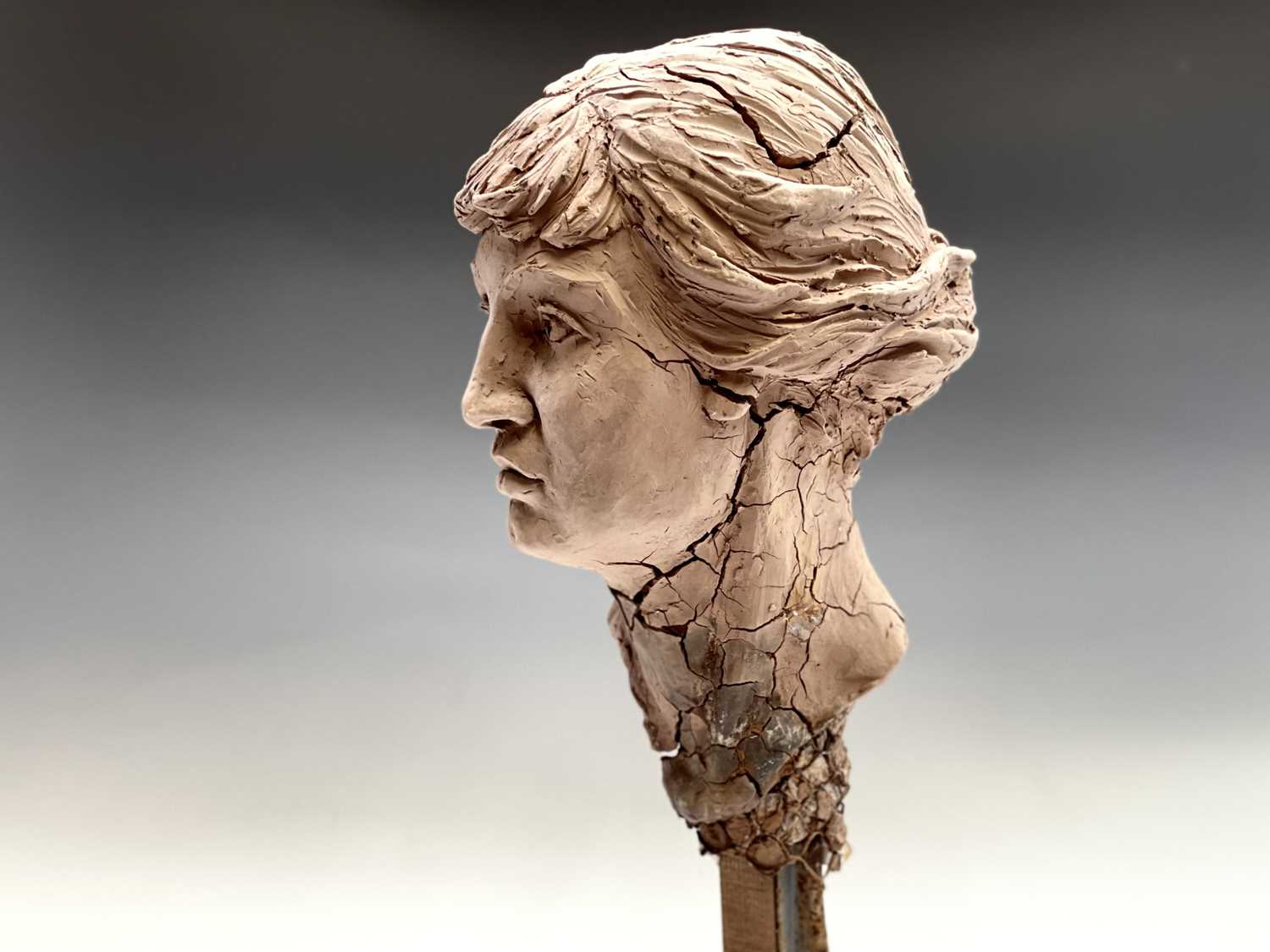 Alec WILES (1924)Female Head Clay sculpture Height 58cm - Image 13 of 17