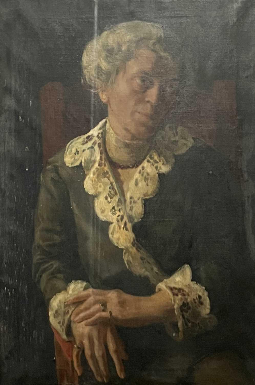 Pre-War English school Portrait of a seated lady Oil on canvas 76x50cm