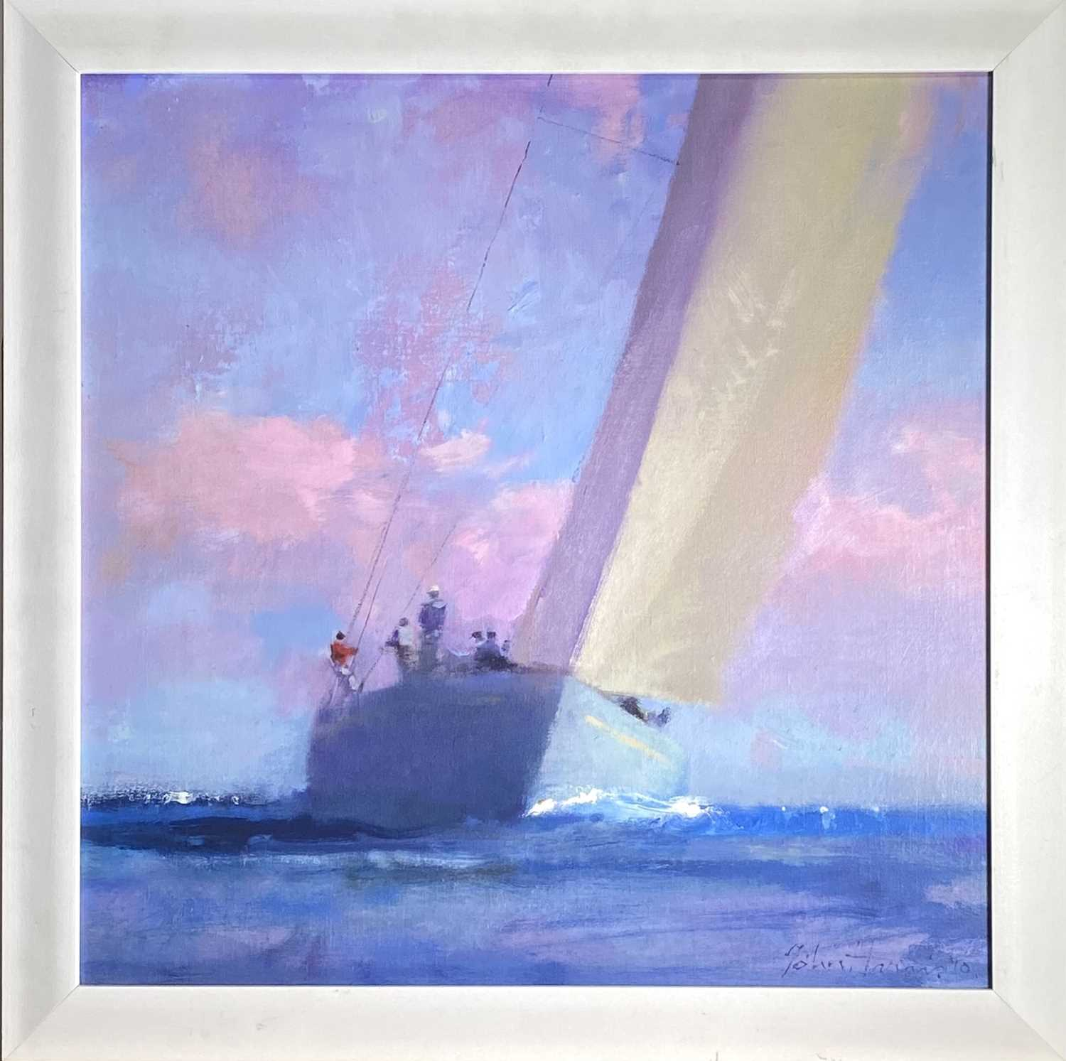 John HARRIS (1948)SailingOil on board Signed and dated '1044.5 x 44.5cmJohn Harris is the only - Image 2 of 3