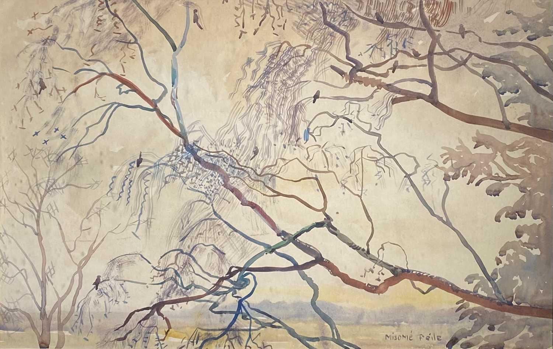 Misomé PEILE (1907-1989)Riverside Willow Watercolour Signed 32.5 x 51cm