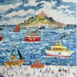 Simeon STAFFORD (1956)St Michael's Mount Oil on board Signed Further signed, inscribed and dated
