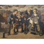 Martin BAILLIE (1920-2012)Tea Break Oil on board Signed and dated 1950 to label on verso 55 x 71.