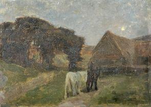 Arthur TOMSON (1858-1905)Horses in a Moonlit Landscape Oil on board Signed 25 x 35cm
