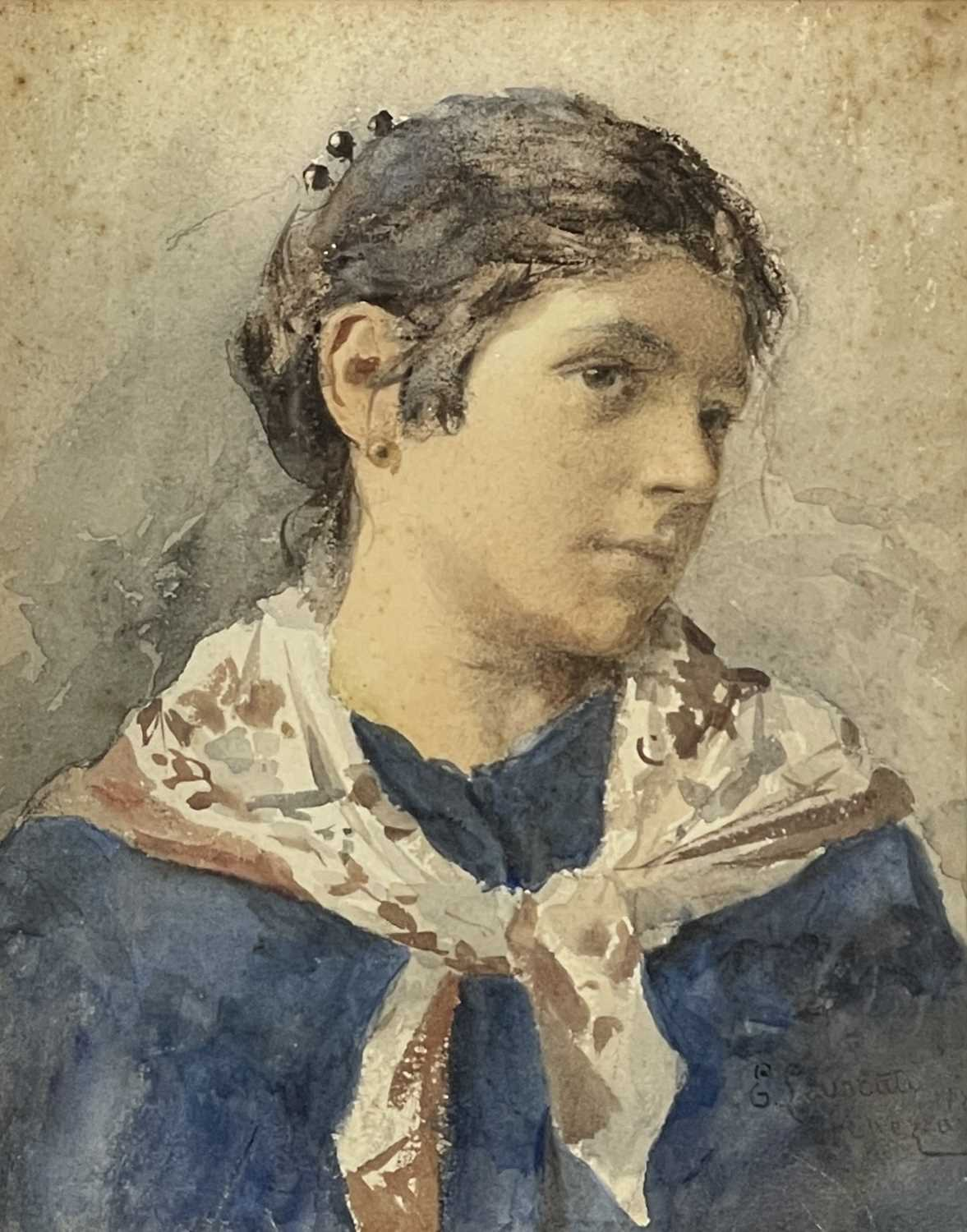 Ernesto LEVORATI (XIX-XX) Two portrait watercolours Each of a Venetian girl Signed and dated 1882 - Image 2 of 7