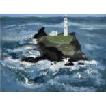 June LAUNDER (20th Century)Godrevy Lighthouse and GullsAcrylic and pencil on board Signed and
