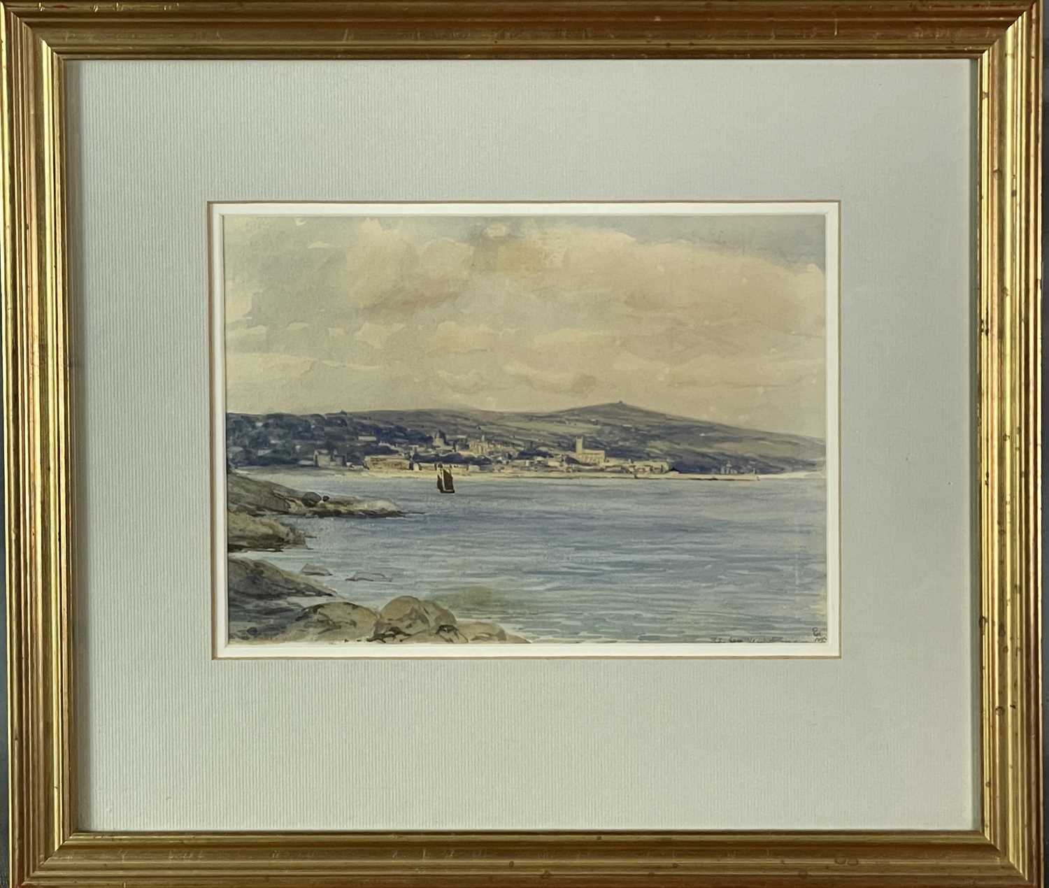 Edmund G. FULLER (1858-1944)Penzance from Newlyn Watercolour Signed and inscribed 17.5 x 24.5cm - Image 2 of 3