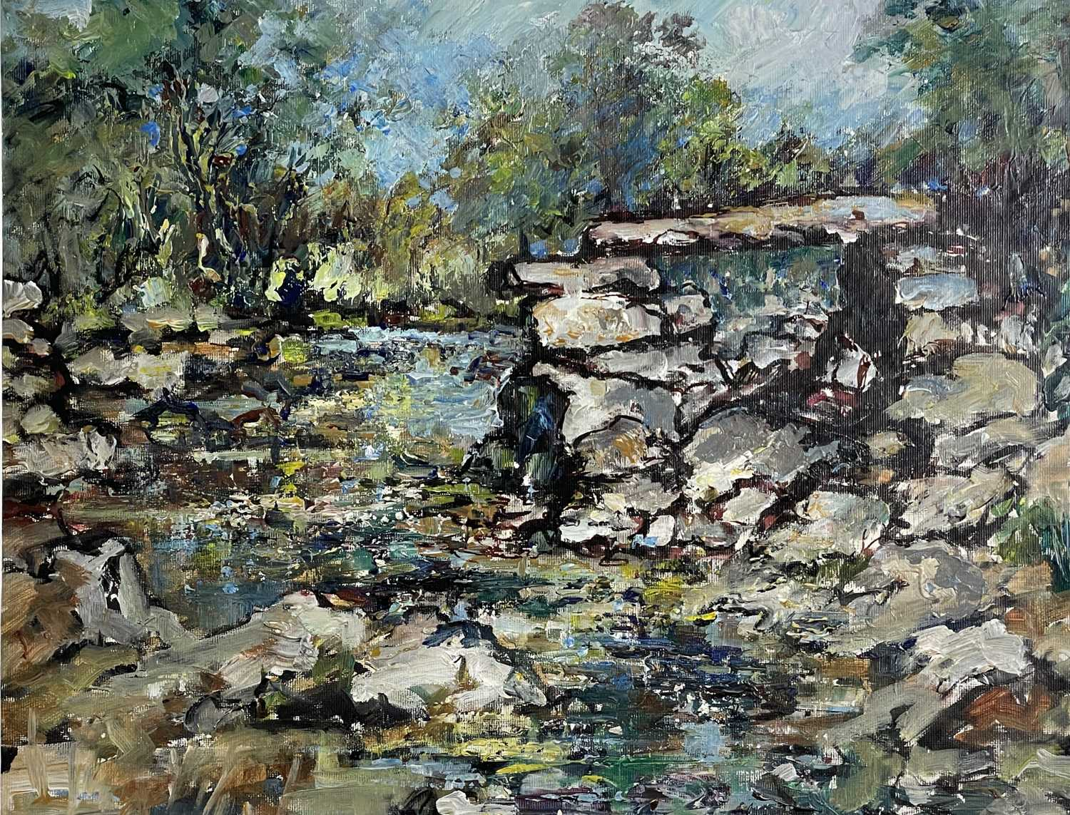 Yram ALLETS Dartmoor Stream Oil on board Signed and inscribed to verso 36 x 46cm