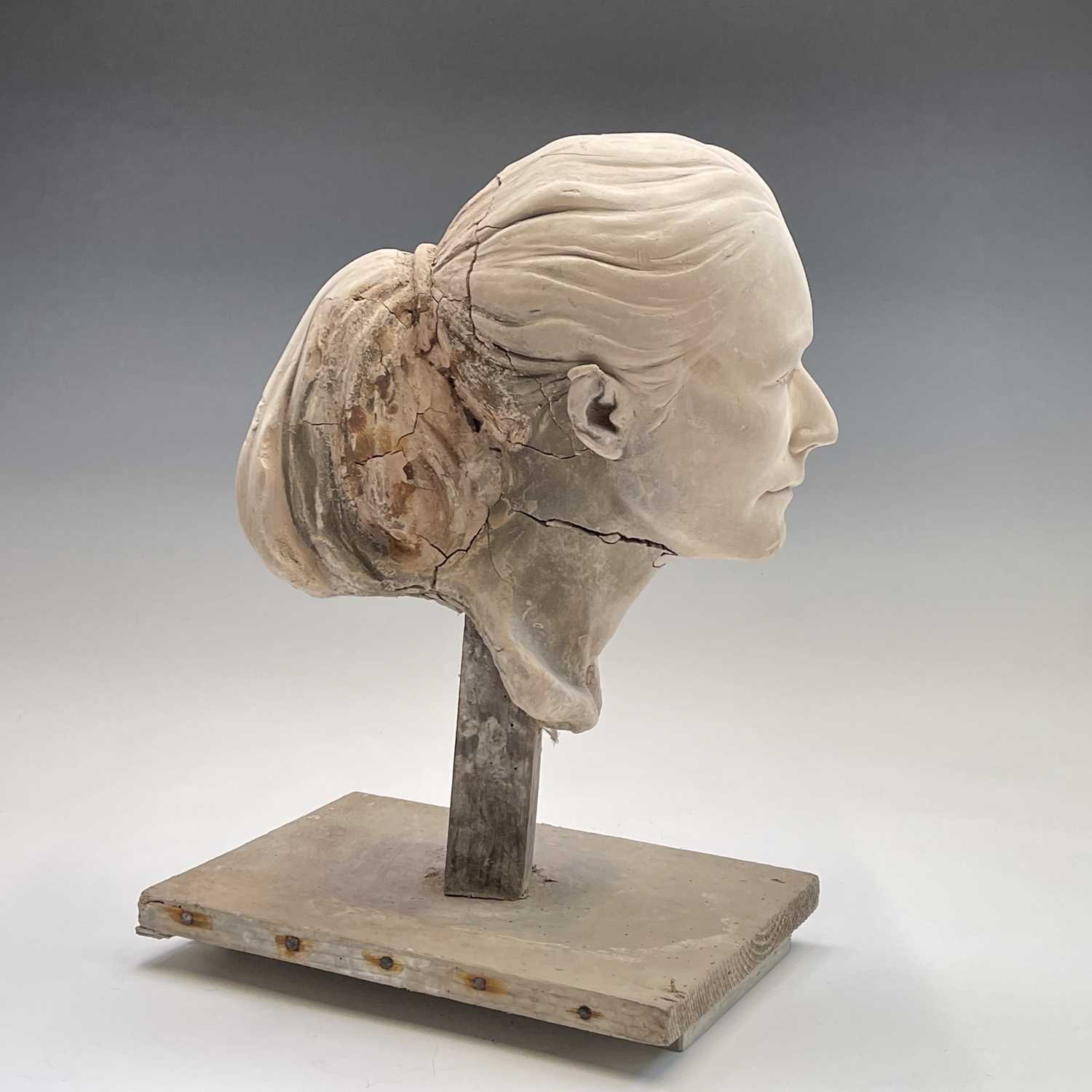 Alec WILES (1924)Female Head Plaster sculpture Height 42cm - Image 4 of 8