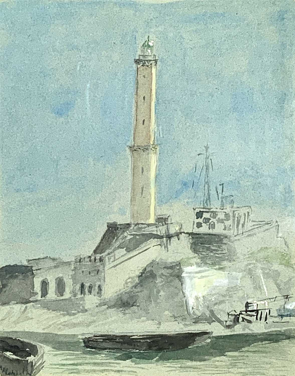 Attributed to Samuel Owen Marine Watercolour Together with a watercolour of a lighthouse by George H - Image 3 of 6