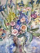 Linda Mary WEIR (1951)Birthday Flowers Watercolour Initialled, inscribed and dated '8972 x 55cm