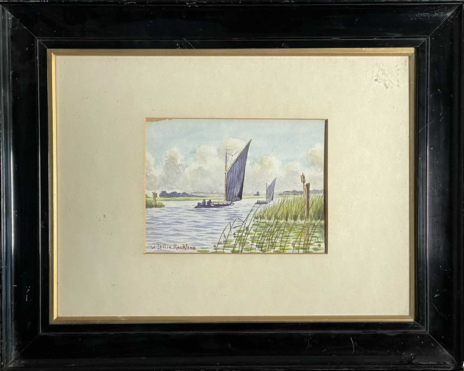 William Leslie RACKHAM (1864-1944)Sailing on the BroadsWatercolour Signed 15 x 20cmTogether with - Image 2 of 6