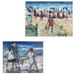 Ross FOSTER (XX-XXI)At the Beach Two oils on canvas Each signed 20.5 x 25.5cm23 x 30.5cm
