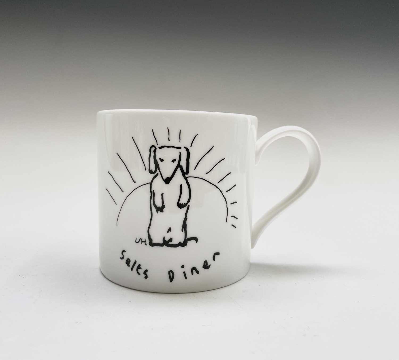 David HOCKNEY (1937) A Royal Doulton bone china mug showing a design of a dog by David Hockney for