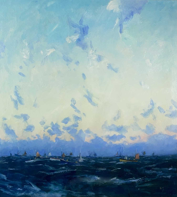 Robert JONES (1943)Mackerel Fleet - Dawn IIOil on board Initialled Signed, inscribed and dated