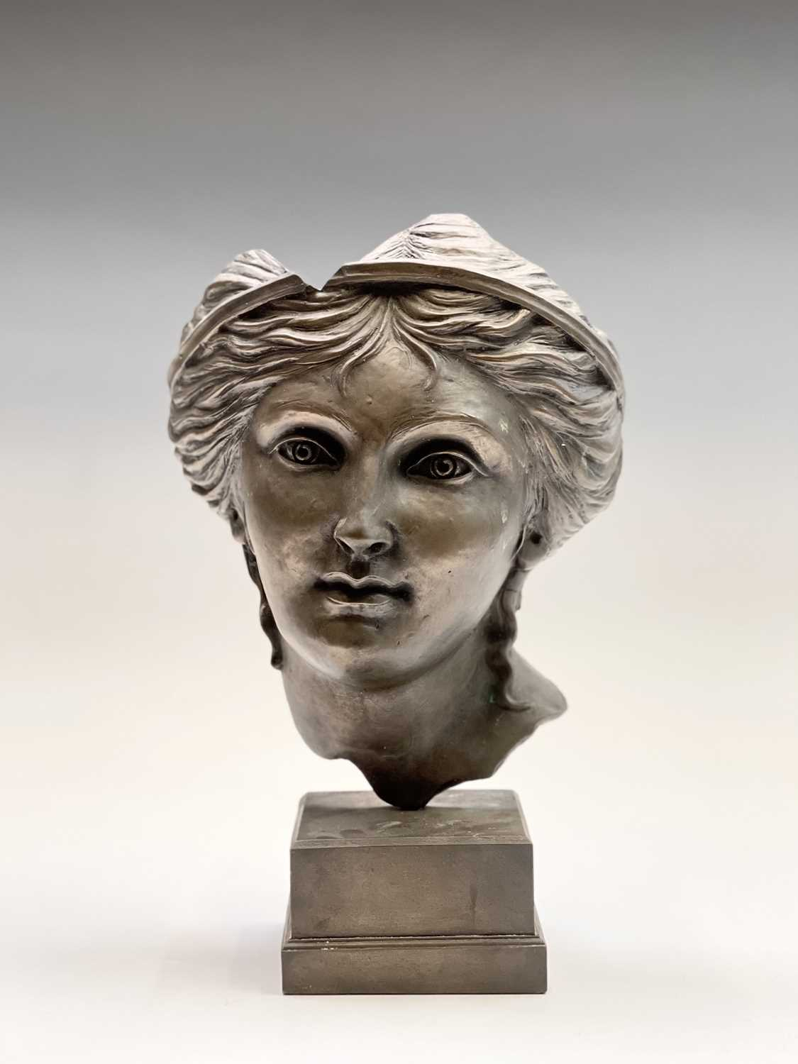Alec WILES (1924)Aphrodite Bronzed resin mask and plinth Height 35cm - Image 2 of 8